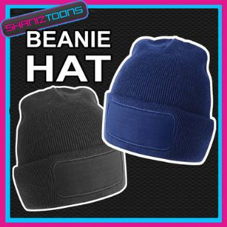 100 BEANIE HATS IN NAVY OR BLACK WITH PRINTING AREA BULK BUY WHOLESALE OFFER 9597001f970